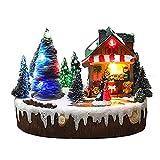 GDYJP Linda Navidad Luminosa Escena de Nieve Escena de Nieve Casa Casa Escena Up Piezas de Centro Adoración de Pueblo Luz Atractiva (Color : B)