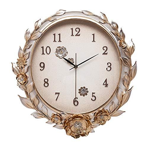 Relojes de pared Decorativo creativo reloj de pared tridimensional pintada a mano del reloj de pared de estar despertador Habitación Sala de estar decorativa ( Color : Gold , Size : 48x10x48cm )