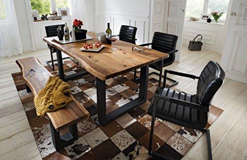 SAM® 6 TLG. Essgruppe Quentin, je 1x Baumkantentisch 200x100cm & -Bank 200x40 cm, Akazie-Holz, 4X Schwingstuhl Parzivo in schwarz