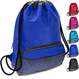 ButterFox Water Resistant Swim Gym Sports Dance Bag Drawstring Backpack Cinch Sack Sackpack for Men and Women, Waterproof Fabric - Blue