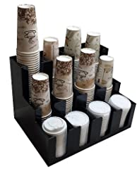 """Works well for single sided counters. Lid and cup section has 4"""" of space in this caddy. Holds 8 stacks of cups up to 30"""" high and 4 stacks of lids up to 9"""" high. Commercial black shiny plastic , heavy strong Acrylic not like cheap flimsy ABS Conveni..."""