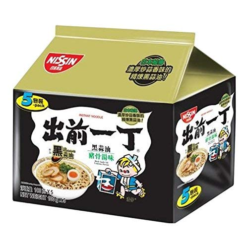 Nissin Demae Ramen Instant Noodle 3.5oz (Tonkotsu Pork with Galic Oil, 5 Packs)