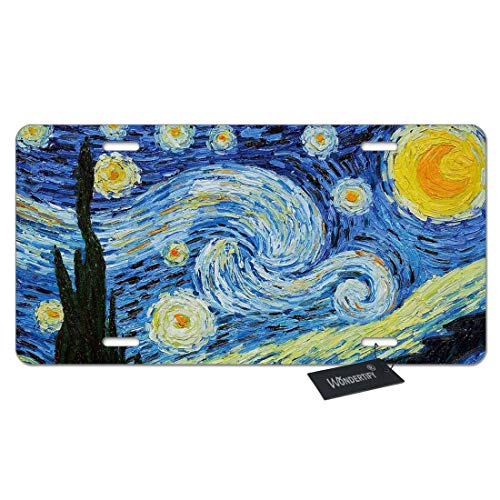 WONDERTIFY License Plate Starry Night Van Gogh Oil Painting Decorative Car Front License Plate,Vanity Tag,Metal Car Plate,Aluminum Novelty License Plate for Men/Women/Boy/Girls Car,6 X 12 Inch
