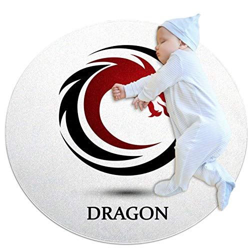 Dragon Totem Red Tapis de jeu pour bébé Tapis modernes doux ronds pour les décorations de salle de plancher 70x70cm