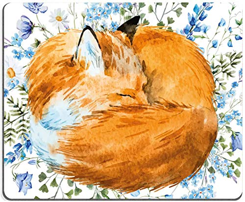 MousePad,Fox MousePad,Gaming Mouse Pad Square Custom Design, Fox in Floral Blue Flowers Mousepad Non-Slip Rubber Mouse Pads Cute Animal Mat