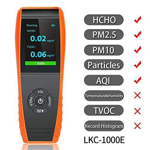 Moniteur de qualité de l'air LKC-1000E Détecteur de la qualité de l'air intérieur Moniteur professionnel de test précis de formaldéhyde avec PM2.5 / PM10 / HCHO/AQI/Particules