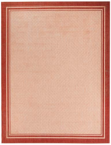 Gertmenian 21361 Outdoor Rug Freedom Collection Bordered Theme Smart Care Deck Patio Carpet 8x10 Large, Border Red