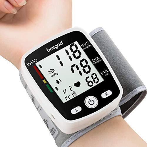 beegod Blood Pressure Monitor Automatic BP Meter 180 Readings Memory with LCD Display Voice USB Charging 5.3-7.7in Adjustable Cuff