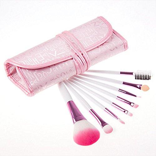 MIMI KING 7Pcs Pinceaux De Maquillage Fard À Paupières Sourcils Mélange Cosmétique Combinaison avec Un Sac Rose