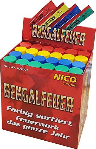 Nico 24 Bengalfeuer Rot, Blau, grün, Gelb im Verkaufsdisplay f Bengalo Party von Aktivhandel