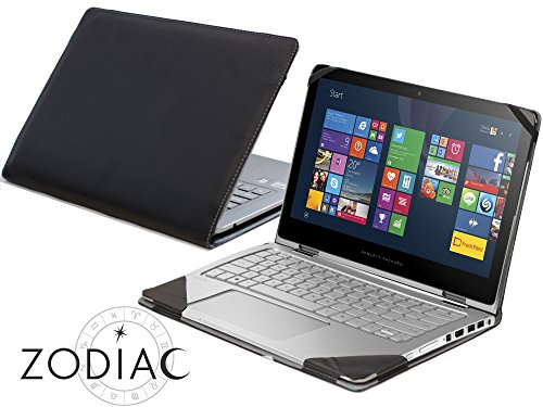 Navitech Black Real Leather Folio Case Cover Sleeve Compatible With The HP Spectre 13 X360