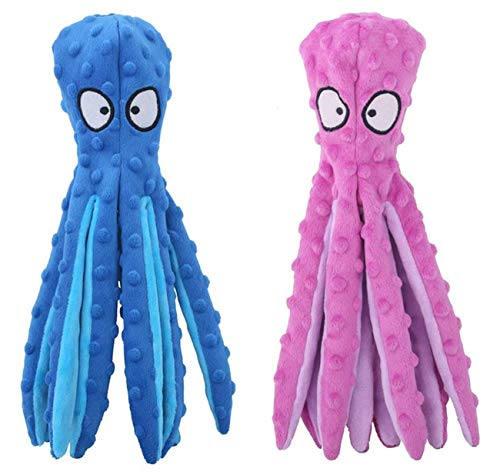 Plush Dog Toy,2-Pack Octopus Interactive Stuffed Dog Toys Set for Boredom,Cute Squeaky Dog Chew Toys for Puppy,Small,Medium,Large Breed