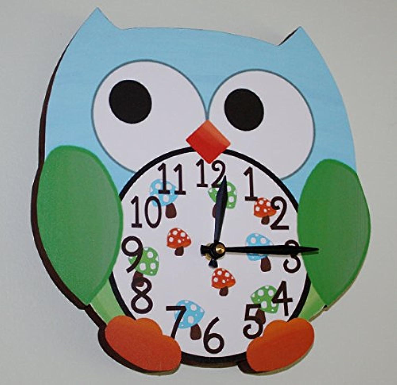 bluee Boy Owl Wooden WALL CLOCK for Boys Bedroom Baby Nursery WC0013