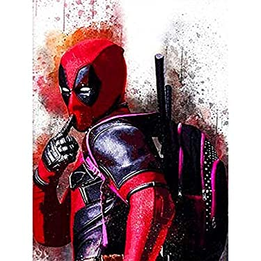 DIY 5D Diamond Painting Kits, Full Drill Crystal Rhinestone Diamond Embroidery Paintings Pictures, Household Arts Craft for Adults 12x16Inch,Deadpool