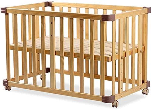 ZGYZ Cuna portátil de Madera para bebé Cuna de Pino para bebé,Parque Infantil de Madera Que se Convierte en un sofá Cama para niños y niñas,Altura Ajustable en 6 Posiciones