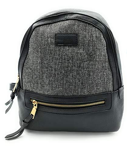 ZF Bolso mochila mujer, mochila mujer, mochila de rafia, práctica, cómoda y elegante (Negro)