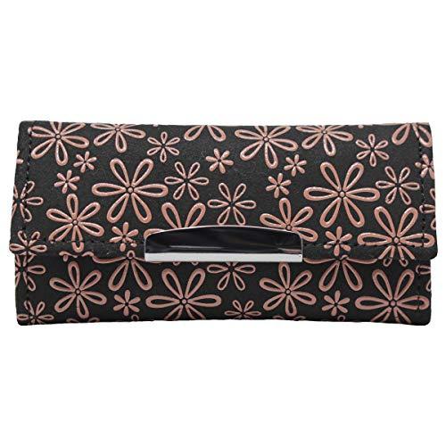 印傳屋 印伝 レディース キーケース (キーホルダー) 4702 黒×ピンク 日本製 和風 和柄 通販 ギフトに。 (雪割草(黒×ピンク))