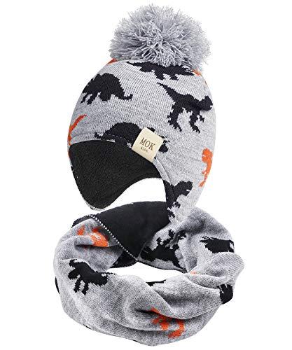 Tacobear Junge Wintermütze Winterschal Strickmütze Beanie Ohrenschützer Hut und Schal für Kinder Mädchen (grau, 3-8 Jahre)