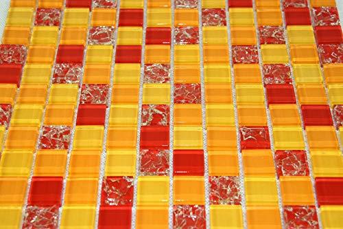 Piastrelle Mosaico Mosaico Piastrelle in vetro lucido arancione rosso bagno wc cucina 8mm nuovo # S03