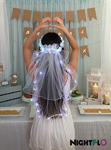 Turquoise Swirl Rose NightFlo w/ Light Up Veil for Wedding & Bachelorette Parties