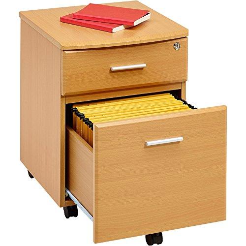 Piranha Trading Cajonera y archivador A4 con Cerradura para despacho y Oficina en casa melamina Efecto Haya PC 10b ⭐