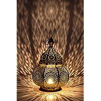 Farol portavelas Oriental de Metal - Candelabro para el jardín - Decorativo para la Mesa - Ziva Dorado - transmite Buen Ambiente - Pasa un Buen rato en el jardín