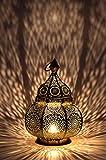 Marrakesch Orient & Mediterran Interior Lanterna portacandele Orientale in Metallo - Portacandele per Giardino - Ziva Dorato - trasmettere Una buona Atmosfera - Passare Un Buon Momento in Giardino