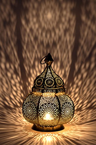 Orientalische Laterne aus Metall Ziva Gold 30cm | orientalisches Marokkanisches Windlicht Gartenwindlicht | Marokkanische Metalllaterne für draußen als Gartenlaterne, oder Innen als Tischlaterne