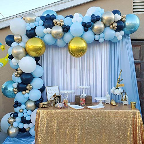 GIHOO Black and Silver Balloon Garland Arch Kit for Bouquet Wedding Baby Shower Birthday Disco Dance Party Decorations (Royal Blue)