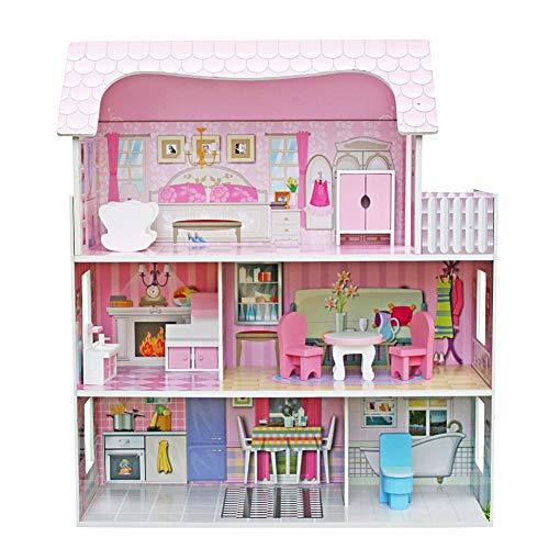 iBellete Puppenhäuser,DREI Etagen aus Holz DIY House Model Kit,Floral Cottage Miniatur Puppenhaus für Kinder und Erwachsene Weihnachten Geburtstagsgeschenk