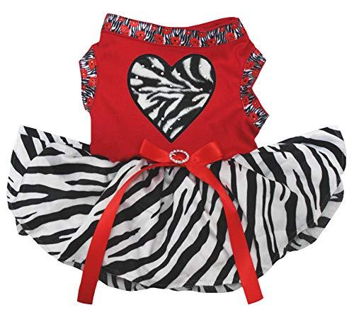 Petitebelle Puppy Hond Kleding Zebra Hart Top Zebra Jurk, XXX-Large, Rood