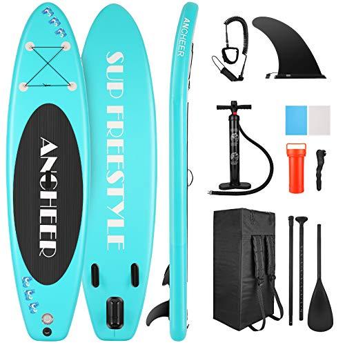 YUEBO Aufblasbares SUP Board, Stand Up Paddle Board mit verstellbare Alu-Paddel, Hand Pumpe, Knöchelband, Zentrale Flosse, Großer Rucksack (Aqua)