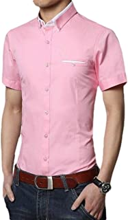 CRYYU Mens Dress-Shirt Casual Summer Short Sleeve Button Down Slim Fit Solid Color Shirt