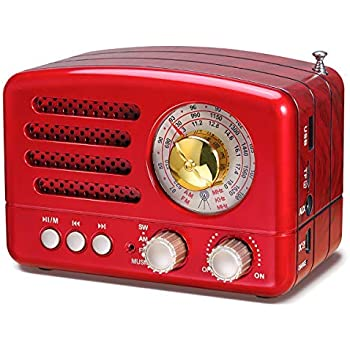 PRUNUS J-160 Transistor AM FM Radio Small Portable Retro Radio with Bluetooth, Rechargeable Battery Operated, Support TF Card AUX USB MP3 Player (RED)