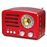 PRUNUS J-160 AM FM Retro Radio Bluetooth Speaker, Small Transistor Shortwave Radio, 1800mAh Rechargeable Battery Operated, Support TF Card/Aux/USB MP3 Player(Red)