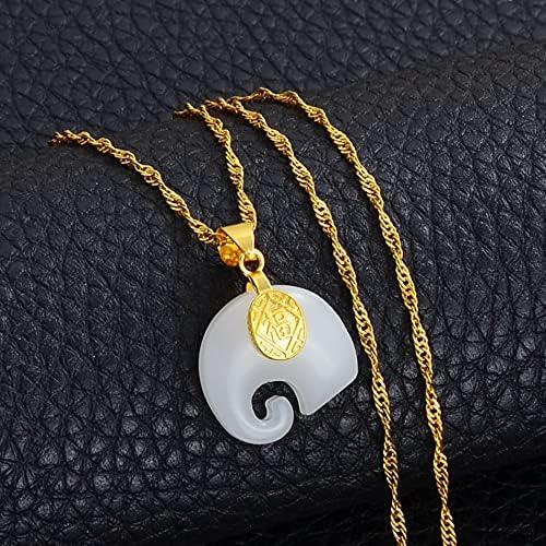 Elements Elephant Pendant Neckalces White/Green Stone Protective Talisman Jewelry 2