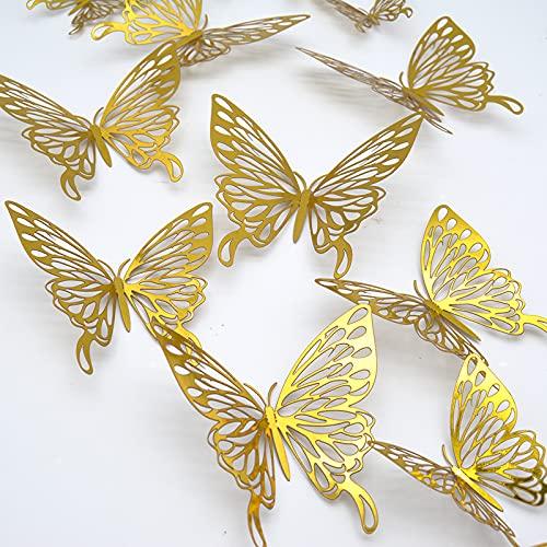 Mariposas Decorativas 3D, CAYUDEN 24 pcs Extraíbles 3 Tamaños Decorativos de Pared...