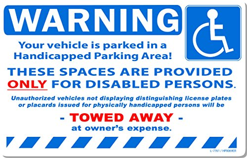 """50 White Handicapped Space Reserved Disabled Persons Car Auto Sign Stickers 8"""" x 5"""""""