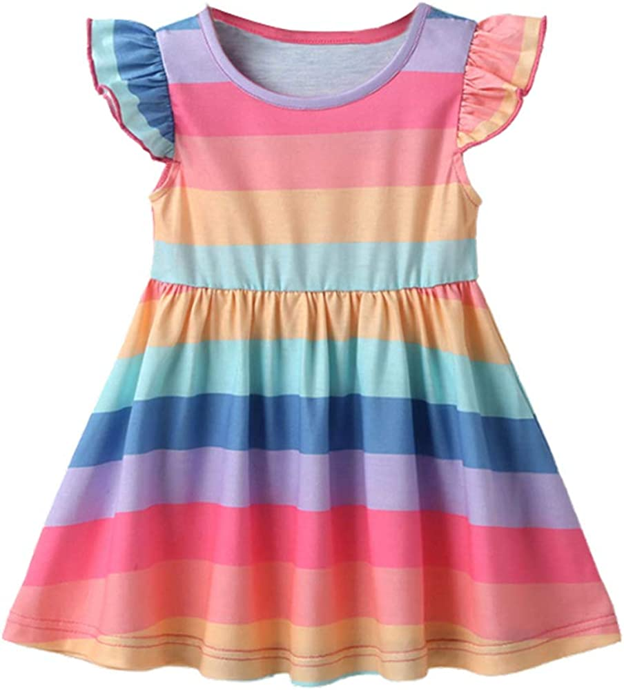 Nobranded Toddler Baby Girls A-Line Dress Cap Ranking TOP11 Max 72% OFF Stripe Sleeve Prin