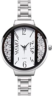 Yuanhua Fashion Quartz Watch with Metal Strap Vertical Crystal Beads Round Metal Strap Wristwatch for Women 4 Colors