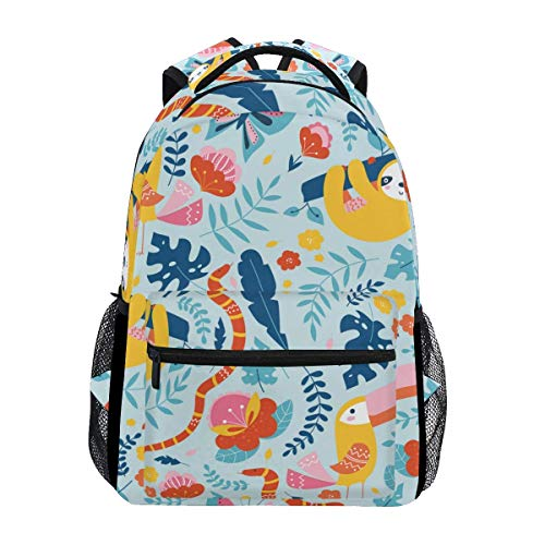 Schoolbag Cute Sloth Animal Tropical Floral Flower College Casual Laptop Gift Daypack Mochila Escolar Mochila...
