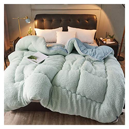WAJIEFD Winter Quilt Microfiber Filled Thick Lamb Wool Super Soft Warm,Single Double King Size,3 Colors (Color : Green, Size : 150X200CM-2KG)