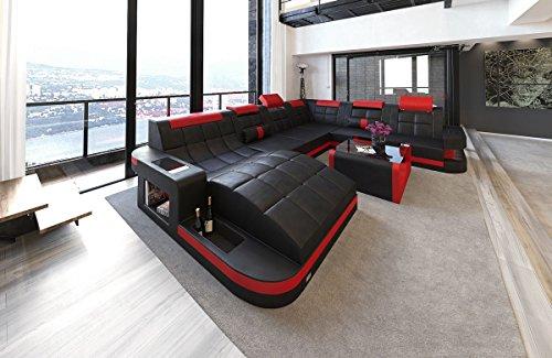 Sofa Dreams XXL Conjunto de Muebles para Salón Wave Ola Rojo Negro