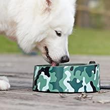 Heated Pet Bowl, Petfactors 2.2L Pet Thermal Water Bowl, Dog Cat Heated Water Bowl with Long Chew Resistant Cord and Waterproof ON/OFF Switch (Camouflage)