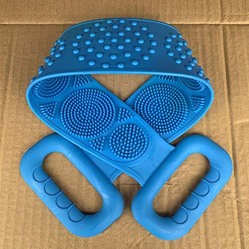 Tatapai Gant de Toilette Loofahs Éponges Gel de Silicone Serviette de Bain Essentiels de Salle de Bain Rub Ash Article d'artefact Frottez Le Dos Rub The Mud-Blue