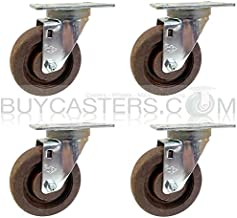 High Temp Bakery Swivel Casters, Nylon Wheel, Set of 4