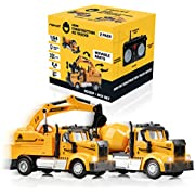 Force1 Mini Construction RC Trucks for Kids - 2 Pack Remote Control Toy Trucks Set with Mini Scoop RC Truck, Mini Cement Mixer Toy Truck, 2.4GHz Remote Controls, Bright LEDs, and RC Toy Batteries