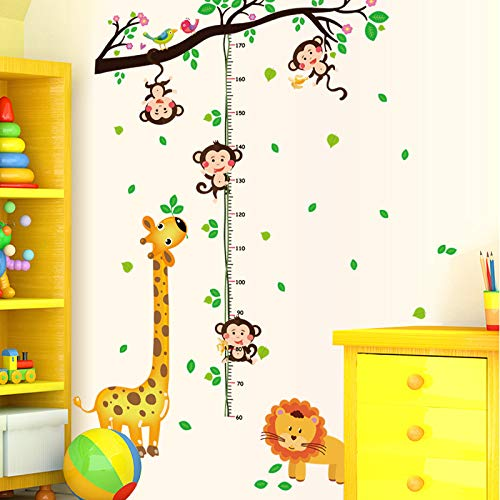 DAWEIF Little Monkeys Tree Cartoon Animals Wall Stickers Lion Monkey Owl Height Measure Wall Sticker Removable DIY Wall Decal