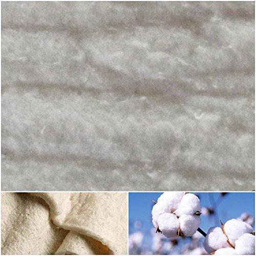 DIE NÄHZWERGE Baumwoll-Volumenvlies 100g/m² 200g/m² aus ungebleichter 100% Baumwolle | Baumwollvlies Baumwolle Baumwollwatte Steppen Quilten Ökotex (100x200cm, 100g/m² (Stärke: ca. 9mm))