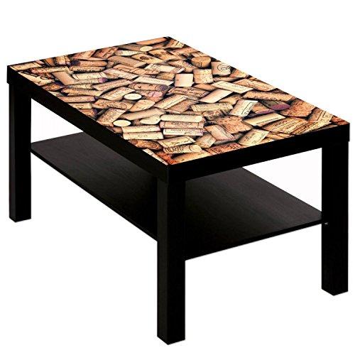 Preisvergleich Produktbild B-wie-Bilder.de Couchtisch Tisch mit Motiv Bild Bar Restaurant Rotwein Korken 1 Farbe schwarz